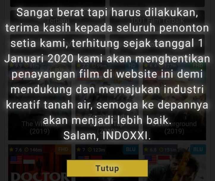IndoXXI Ditutup Januari 2020