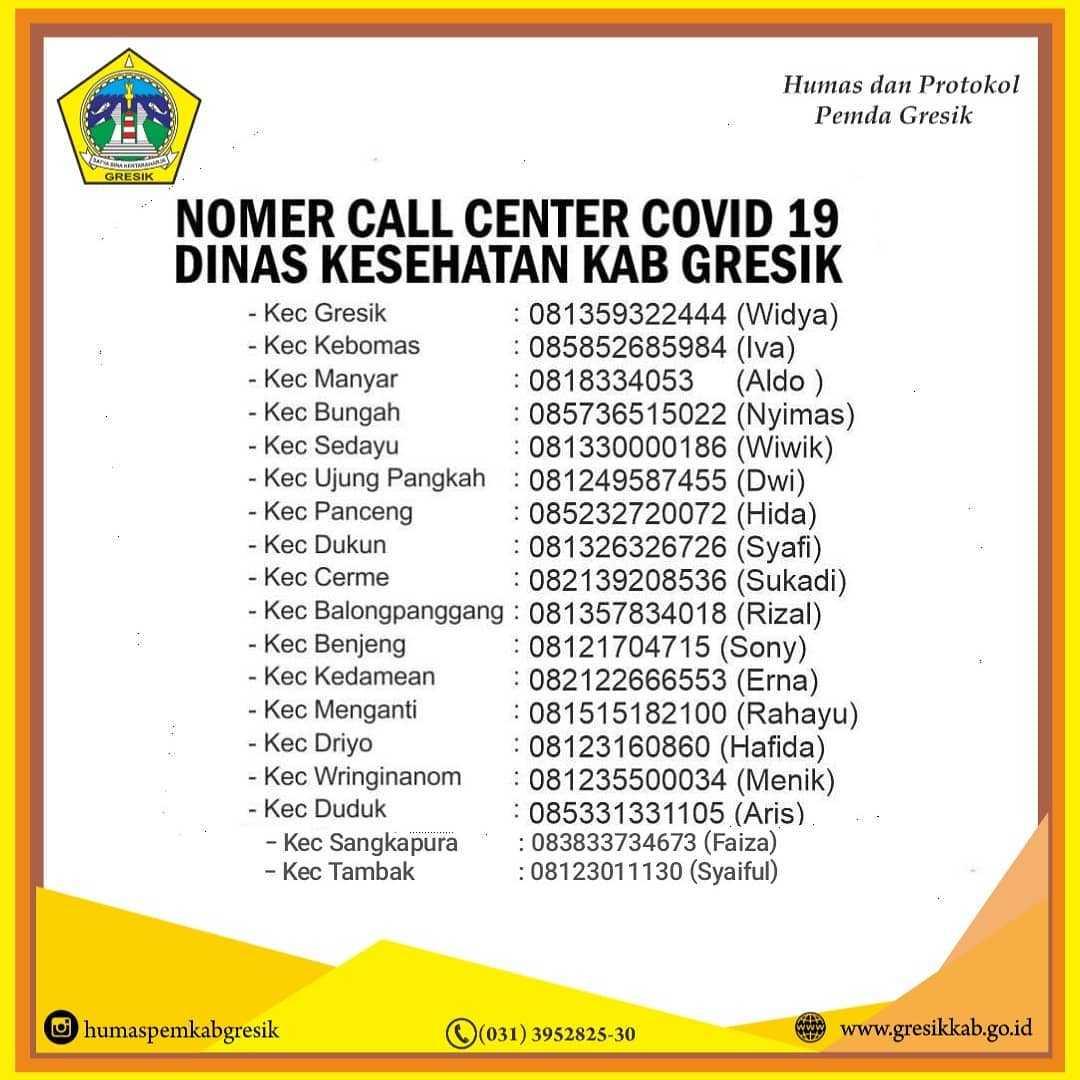 Nomer Call Center Covid-19 Dinas Kesehatan Kabupaten Gresik Berdasarkan Wilayah Perkecamatan.