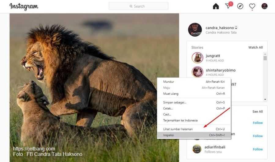 Cara Manual Instagram Upload di Laptop
