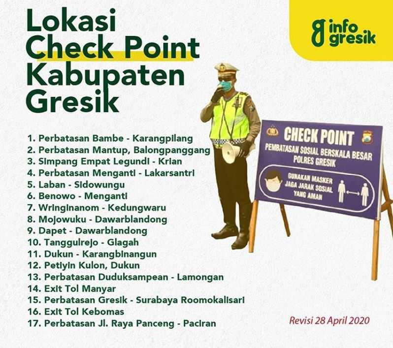 Lokasi Check Point PSBB Kabupaten Gresik