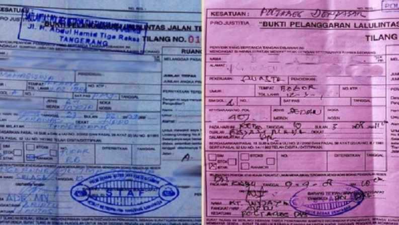 Surat Tilang Berwarna Biru dan Merah